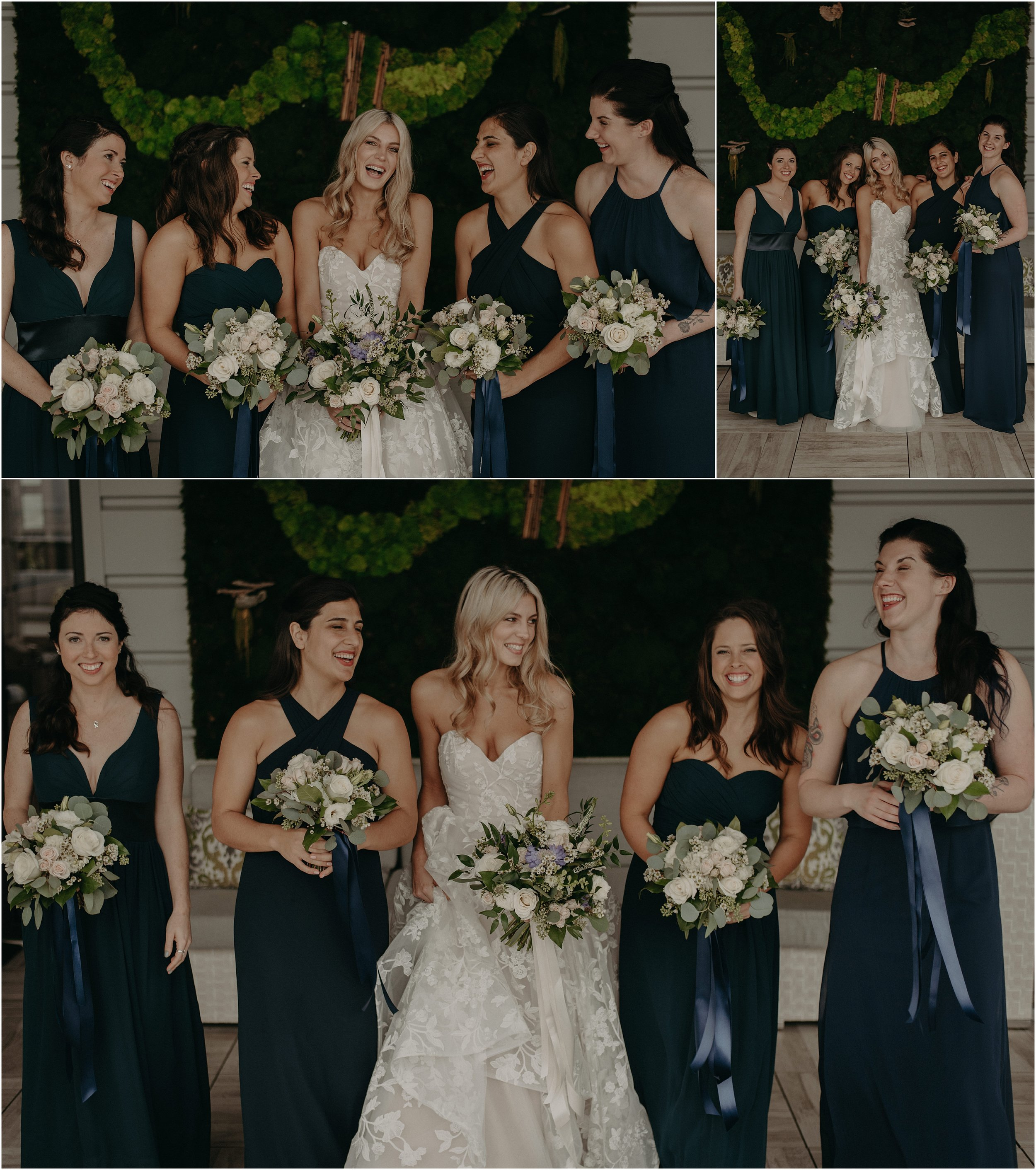 The bridesmaids wore navy blue with floral design by May Flowers
