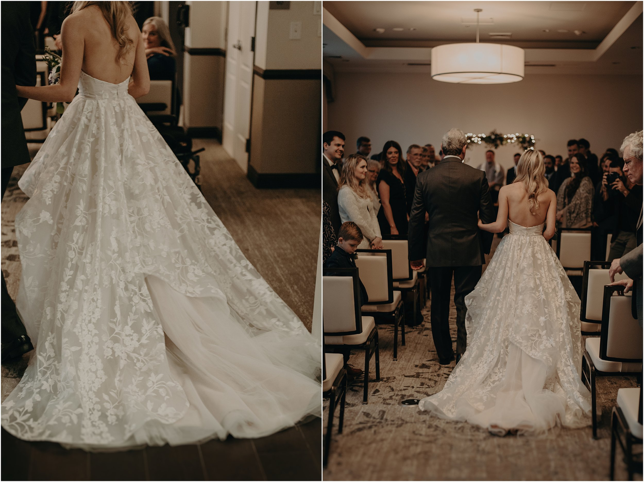The bride makes her entrance to the ceremony in her beautiful Hayley Paige gown
