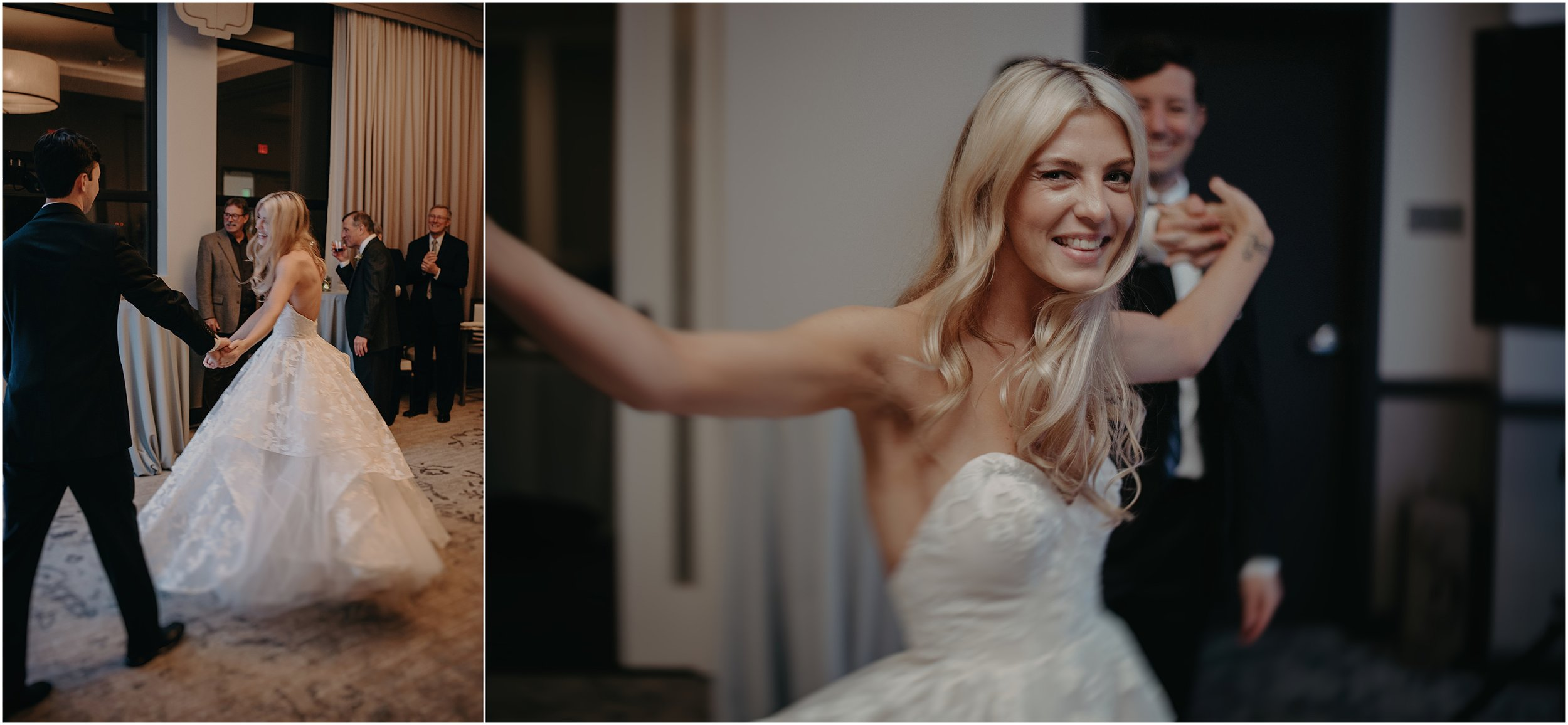 Twirling into the reception together as husband and wife