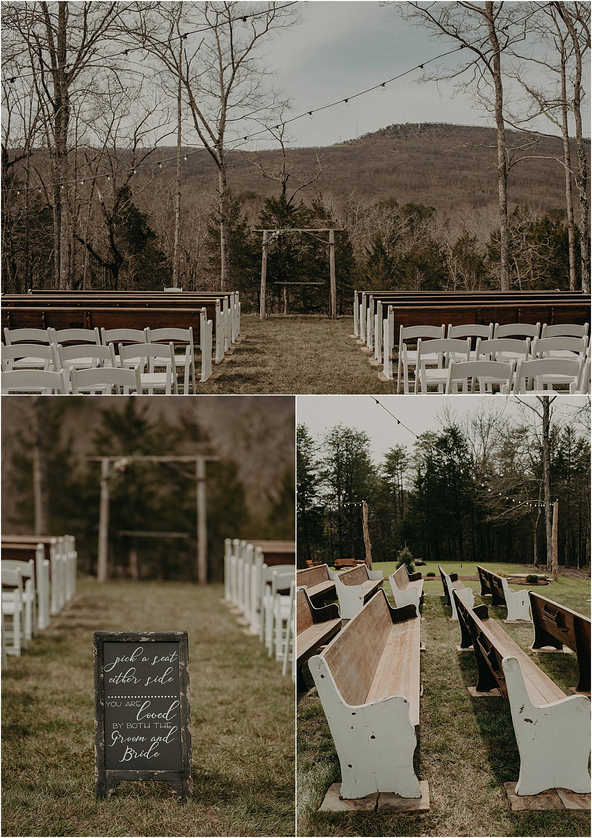 rustic wedding ceremony in the georgia mountains