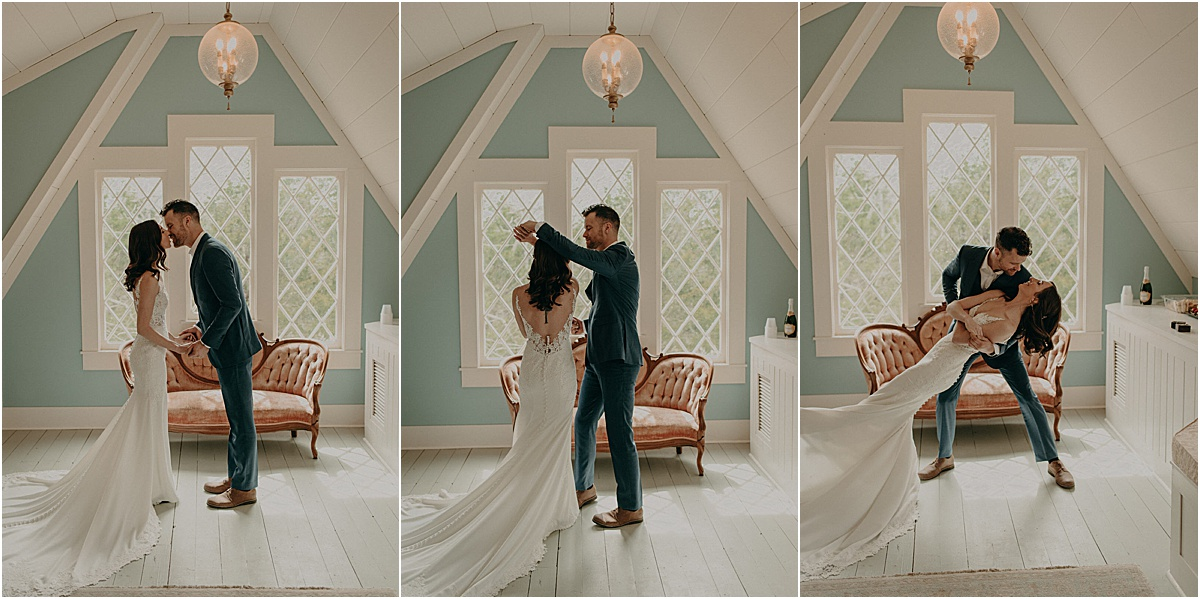 bride and groom dancing in a blue room