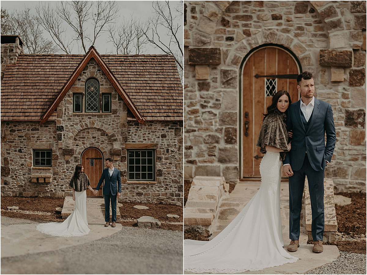 bride and groom posing in front of a georgia brick cottage