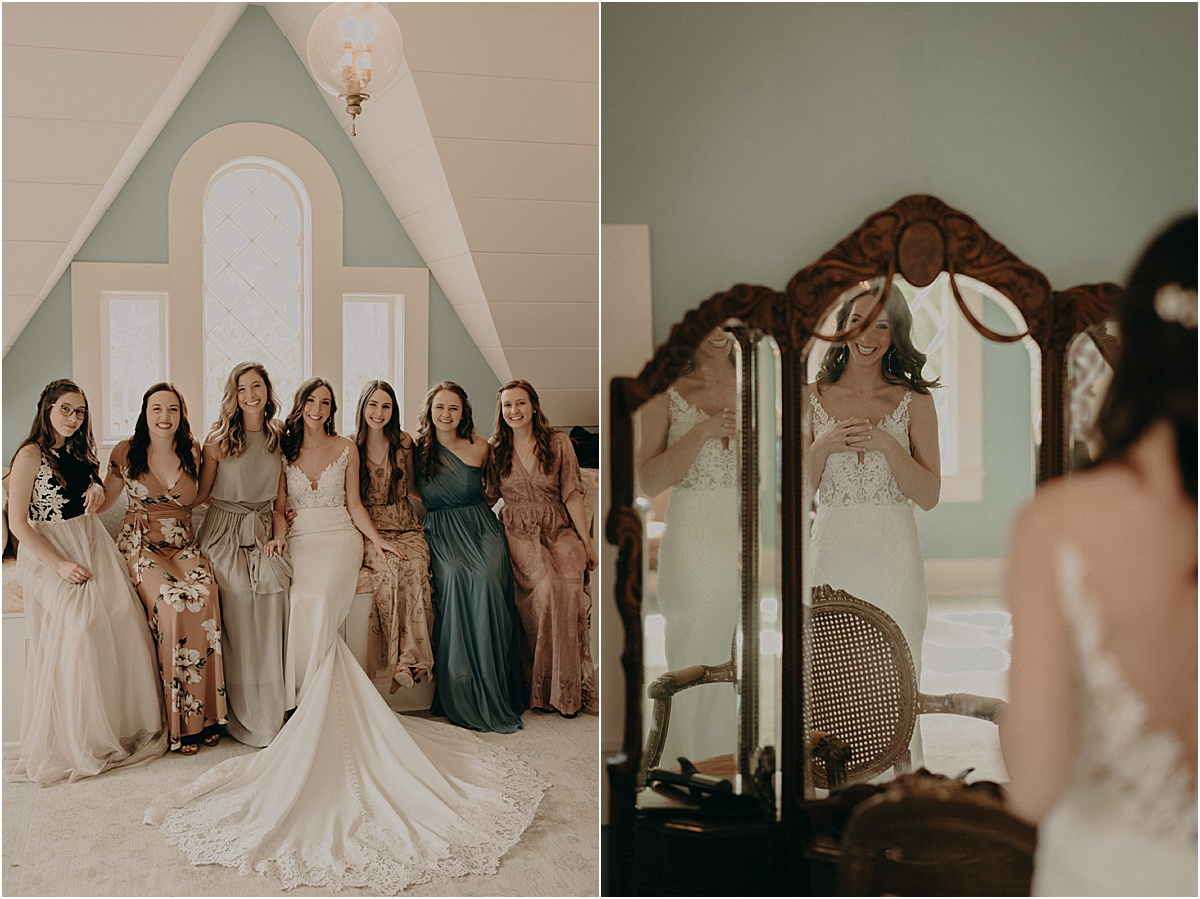 bridal party smiling together before wedding ceremony
