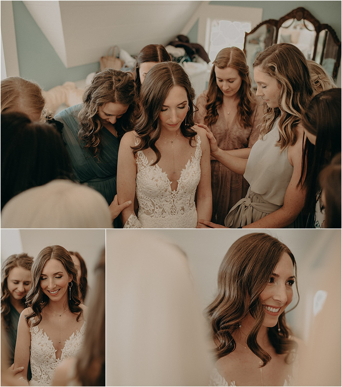 bridesmaids praying over smiling bride before wedding ceremony