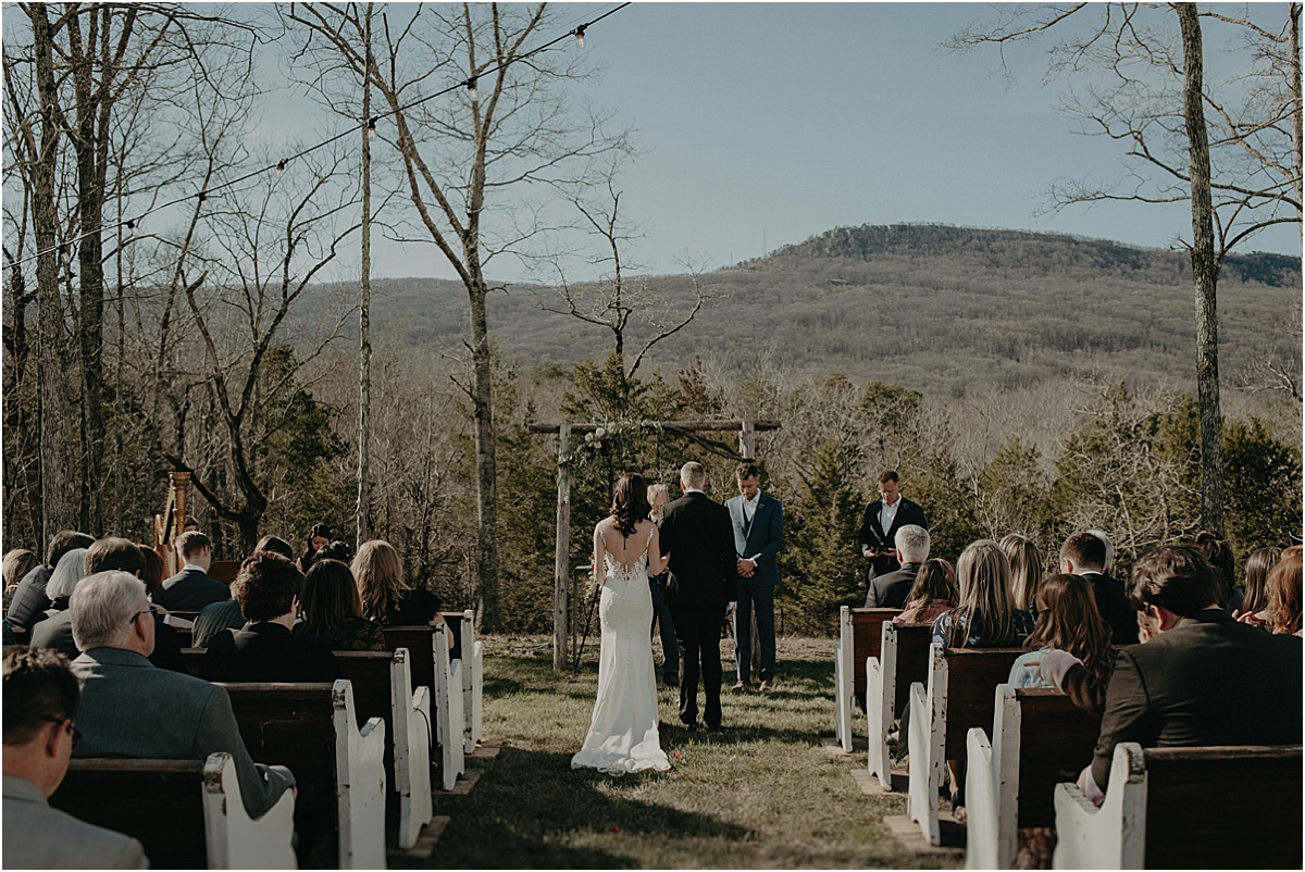 candlelight ridge Georgia wedding ceremony overlooking the hills
