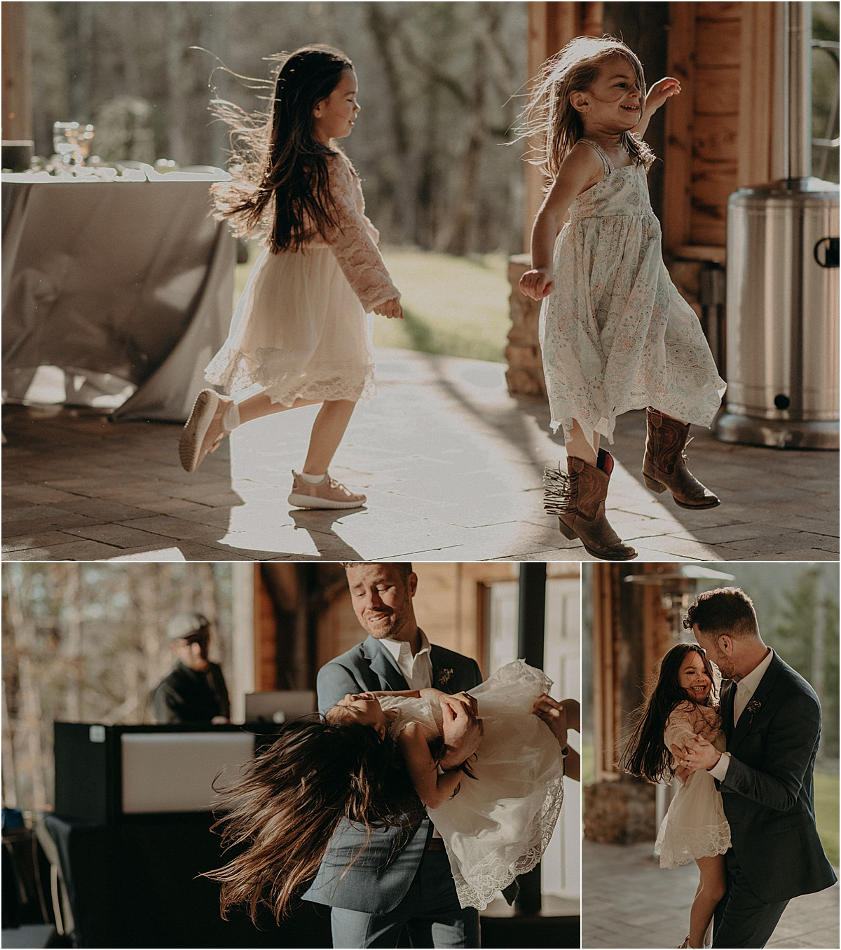 little girls dancing with groom after wedding ceremony