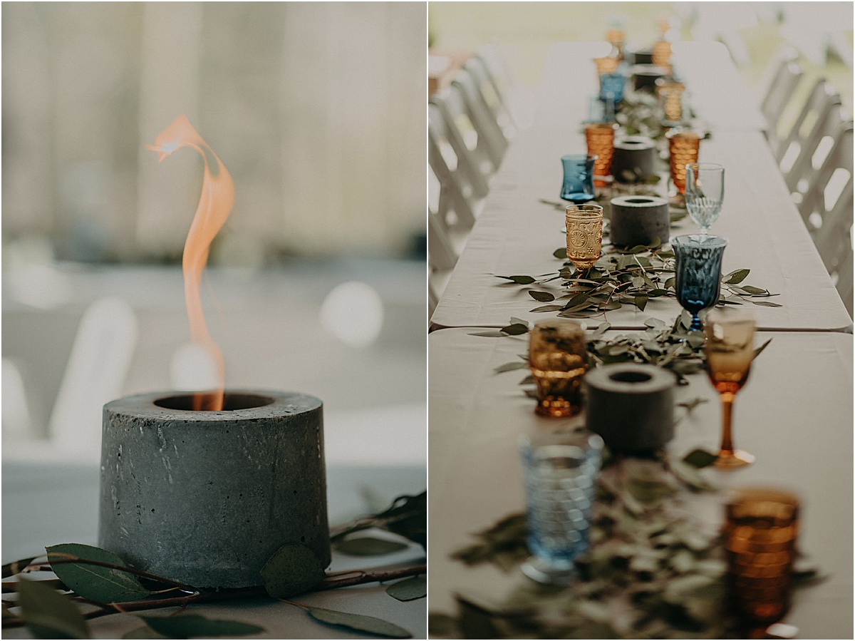 personal fireplace party favors placed on tablescape