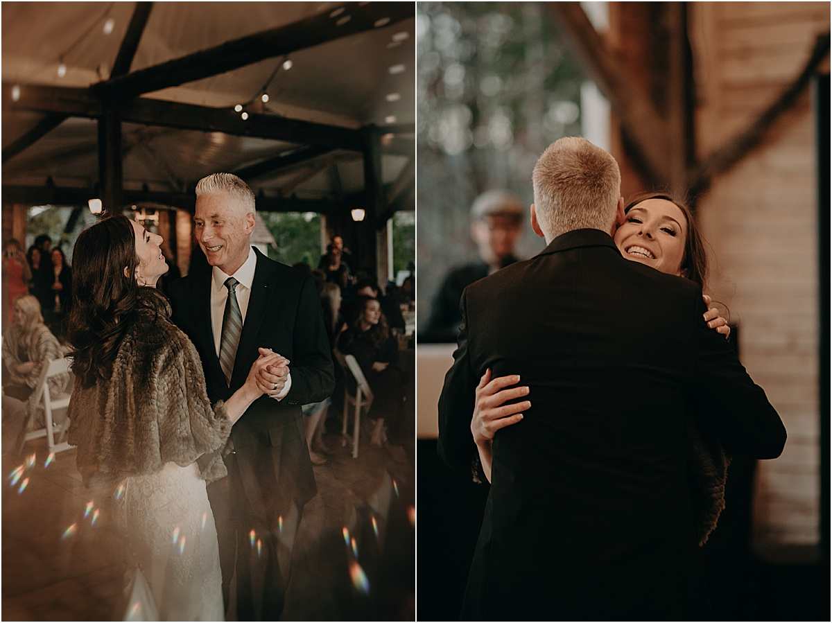 bride and father embracing during father daughter dance at reception