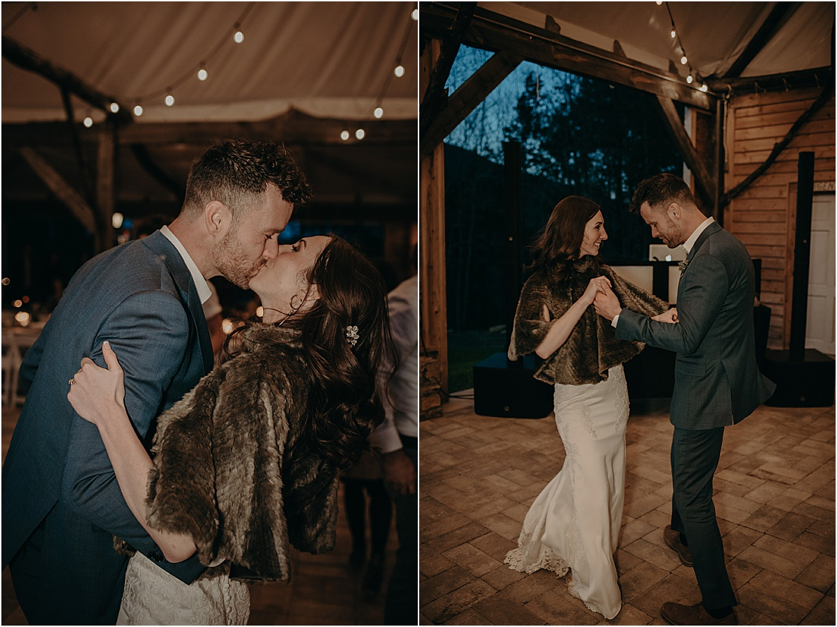 bride and groom dancing and kissing during wedding reception