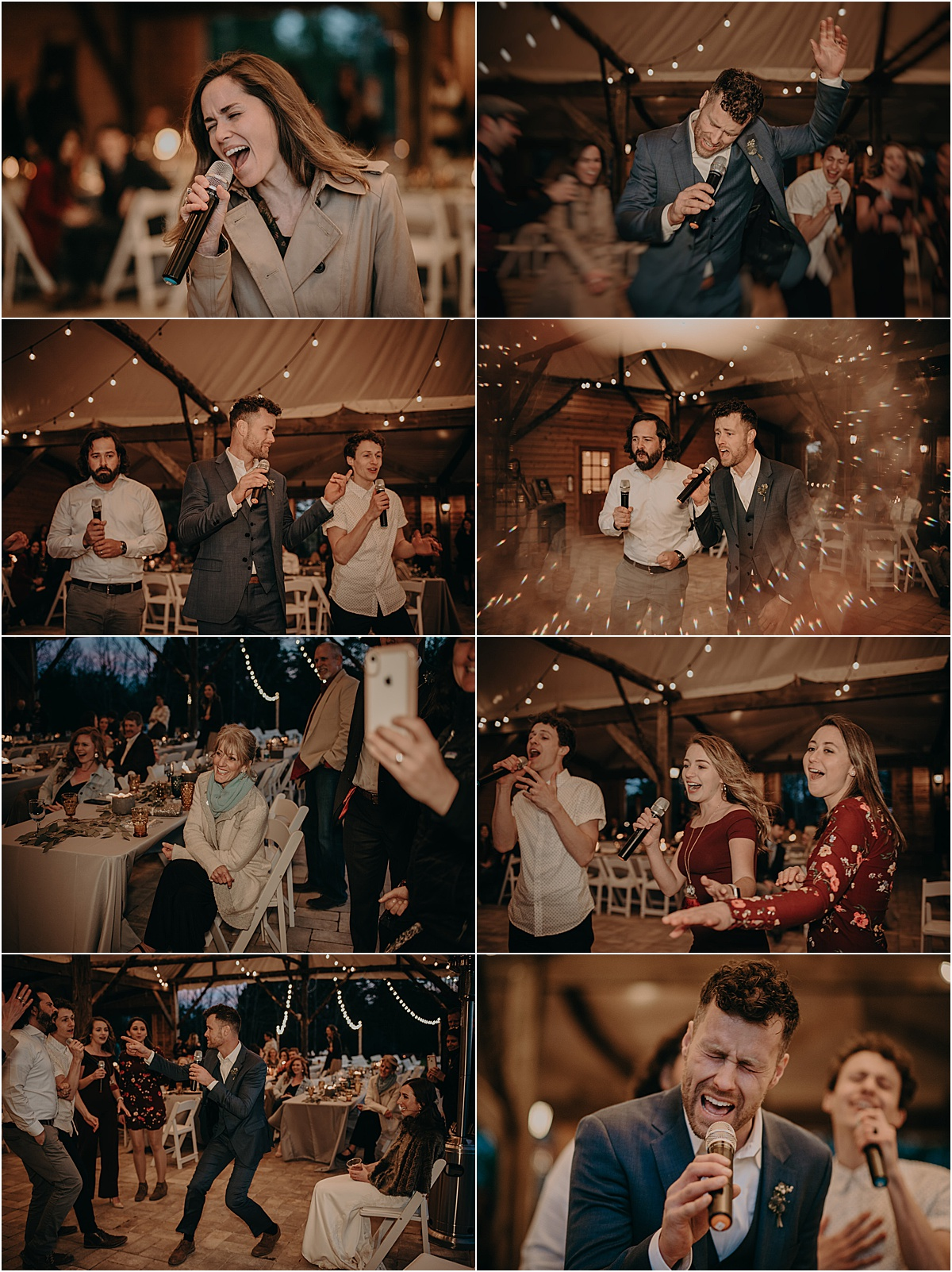 guests dancing and singing with mic during wedding reception