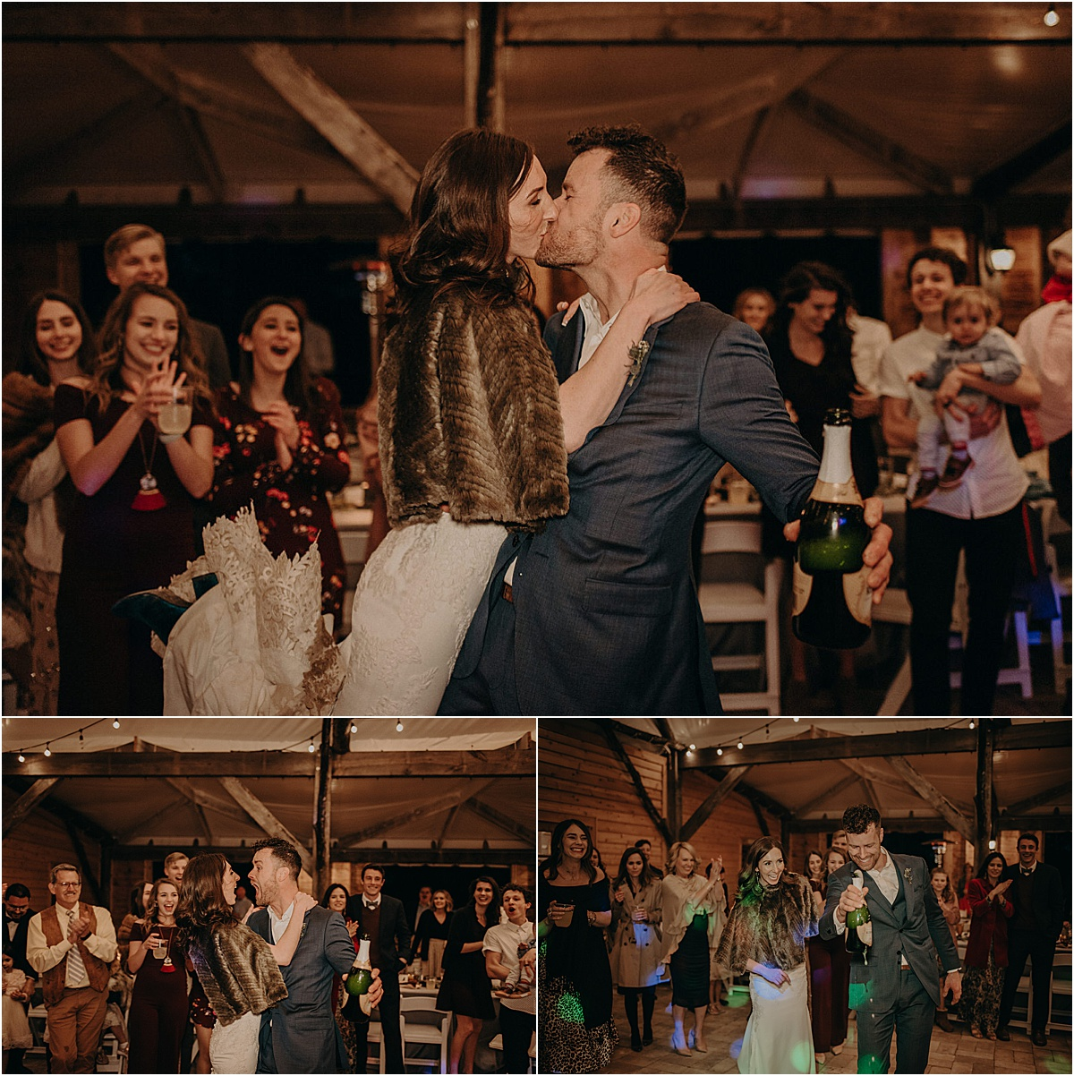 bride and groom popping champagne and kissing in front of guests