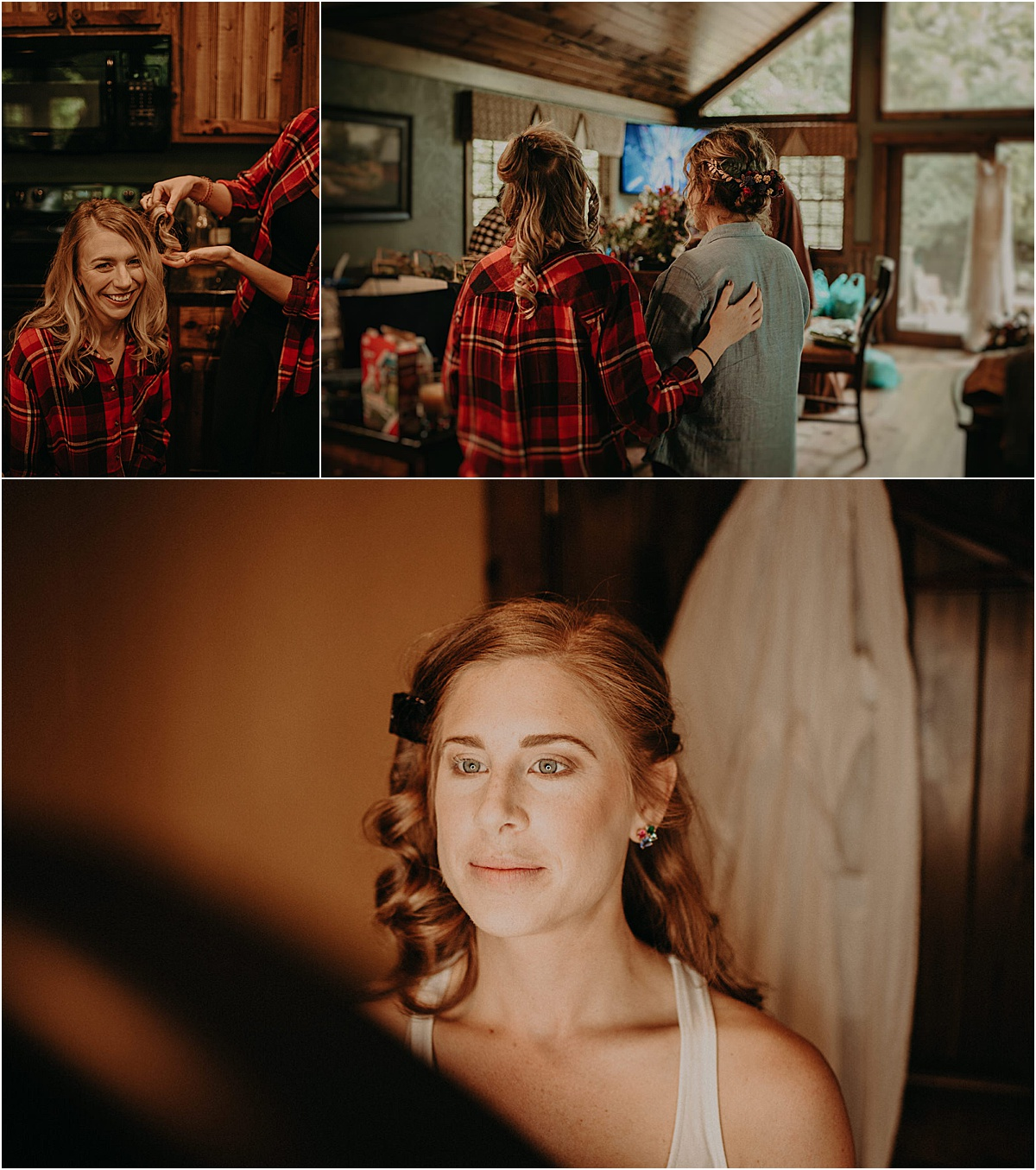 girls doing hair and makeup for wedding ceremony