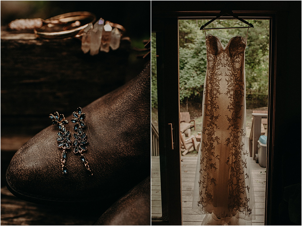 rustic wedding dress and blue earrings on brown boots