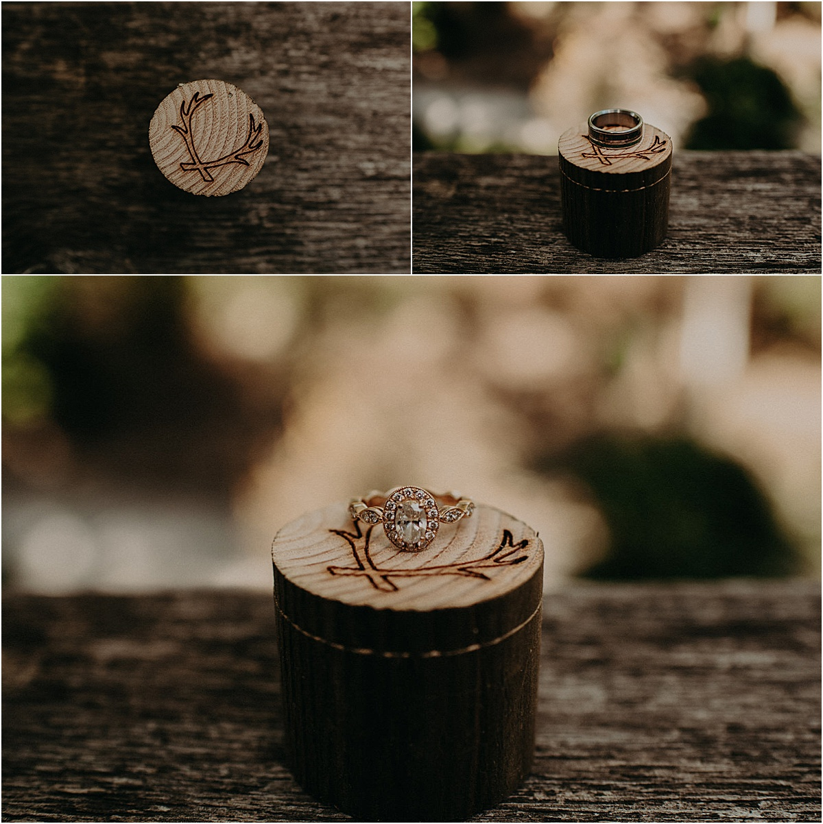 wedding rings and wooden ring box