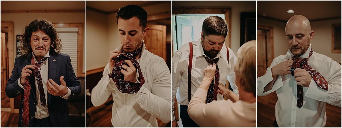 groomsment putting on ties before wedding ceremony