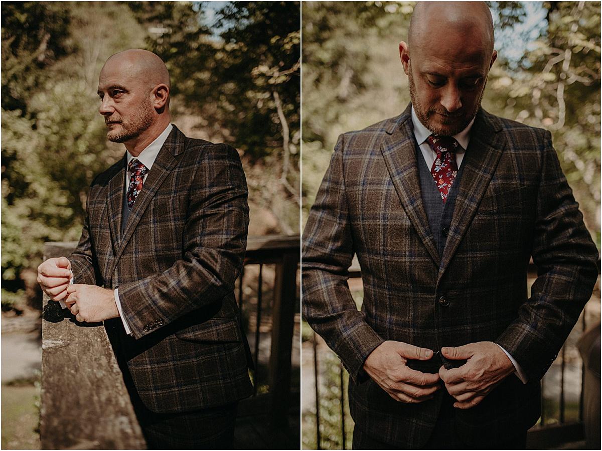 groom adjusting plaid jacket