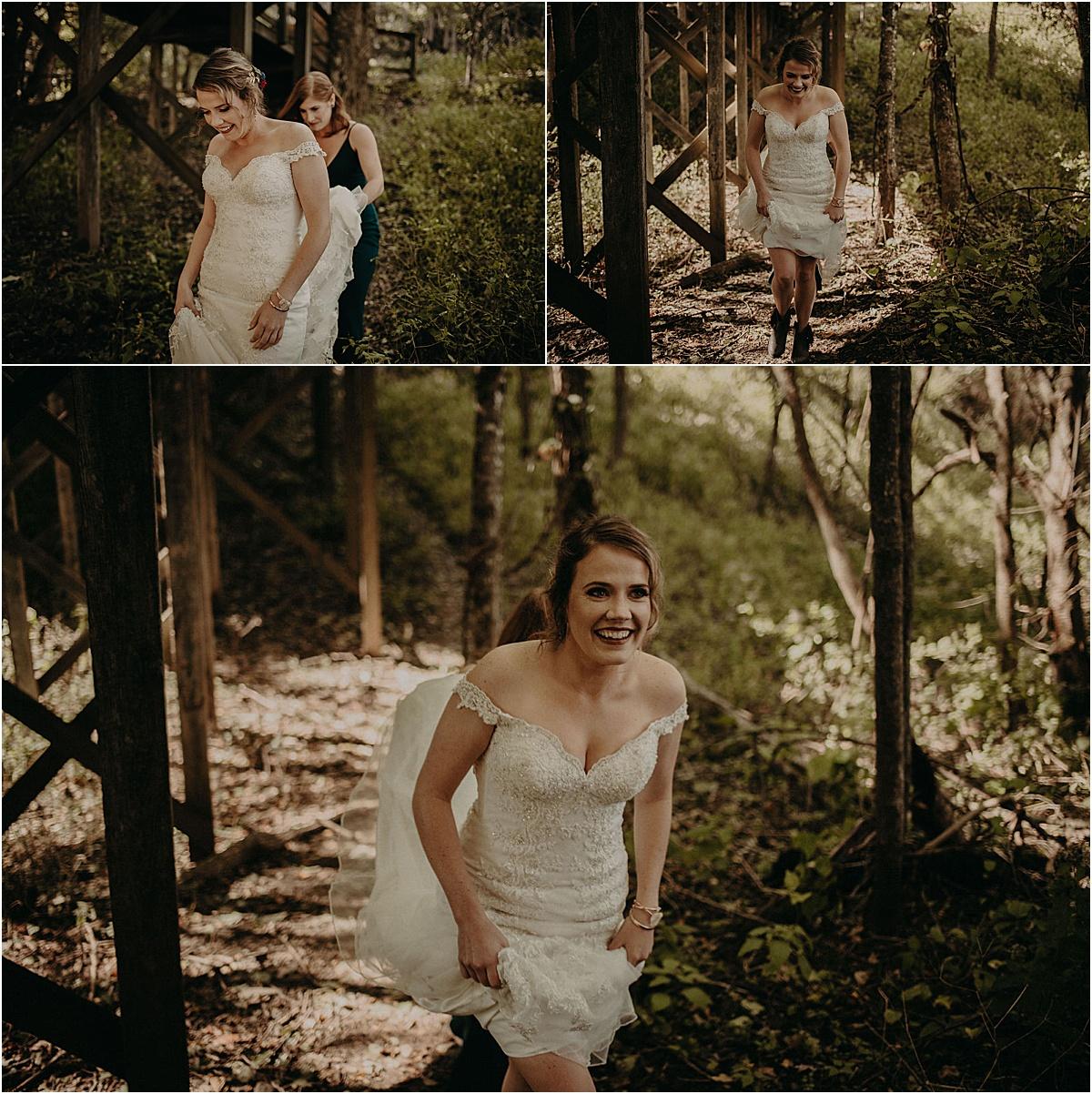 bride walking through the woods to her groom