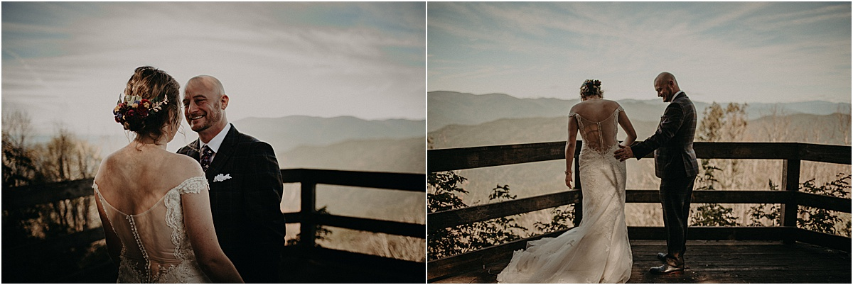 bride and groom in front of north carolina hills