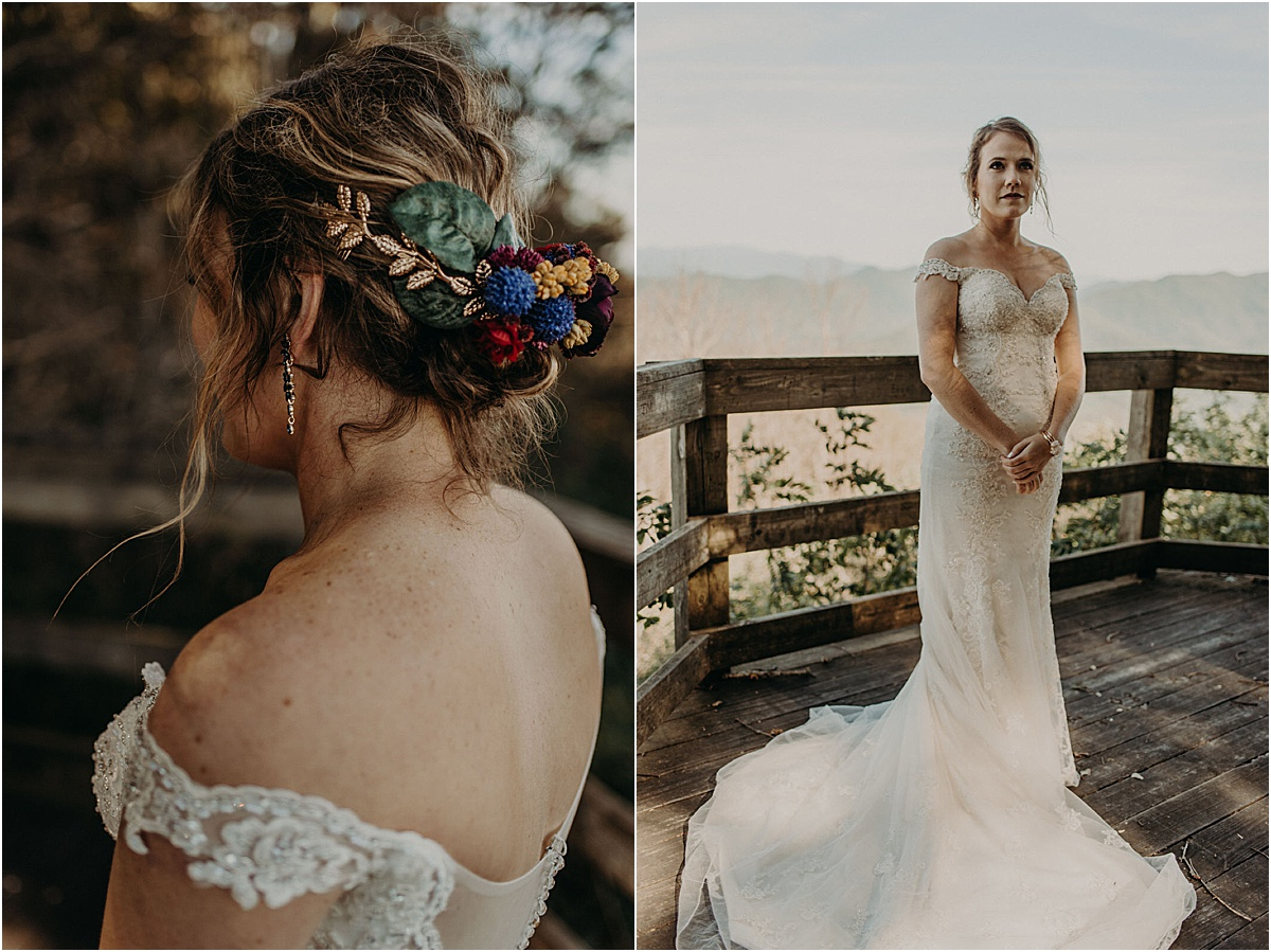 details of brides hair and dress