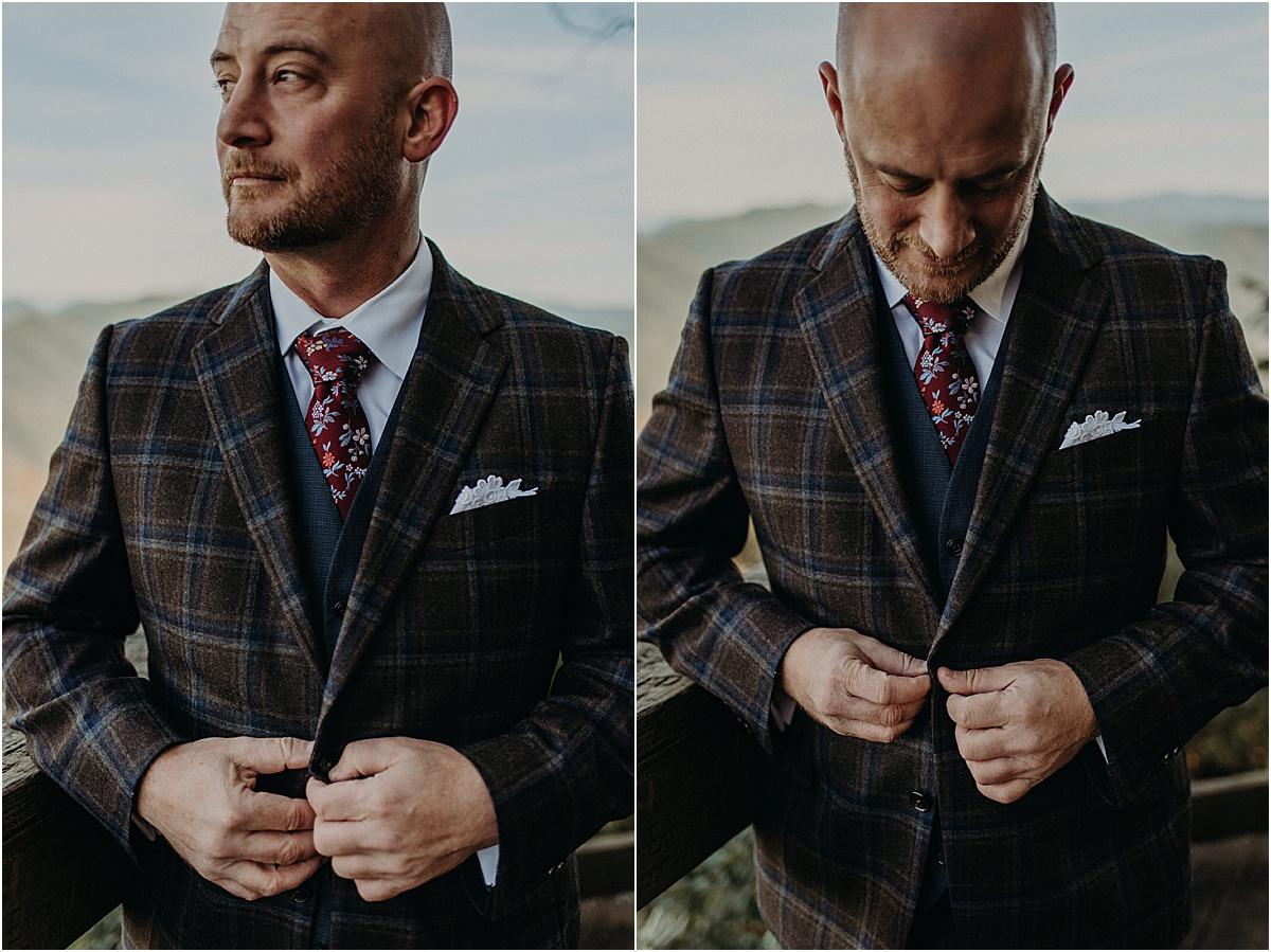 details of grooms suit