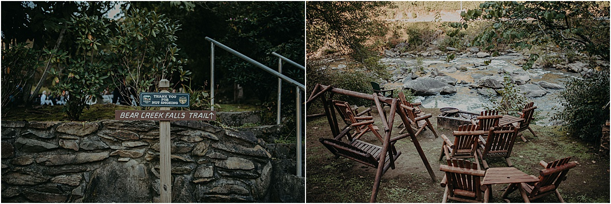 chairs and sign in front of bear creek falls at tapoco lodge
