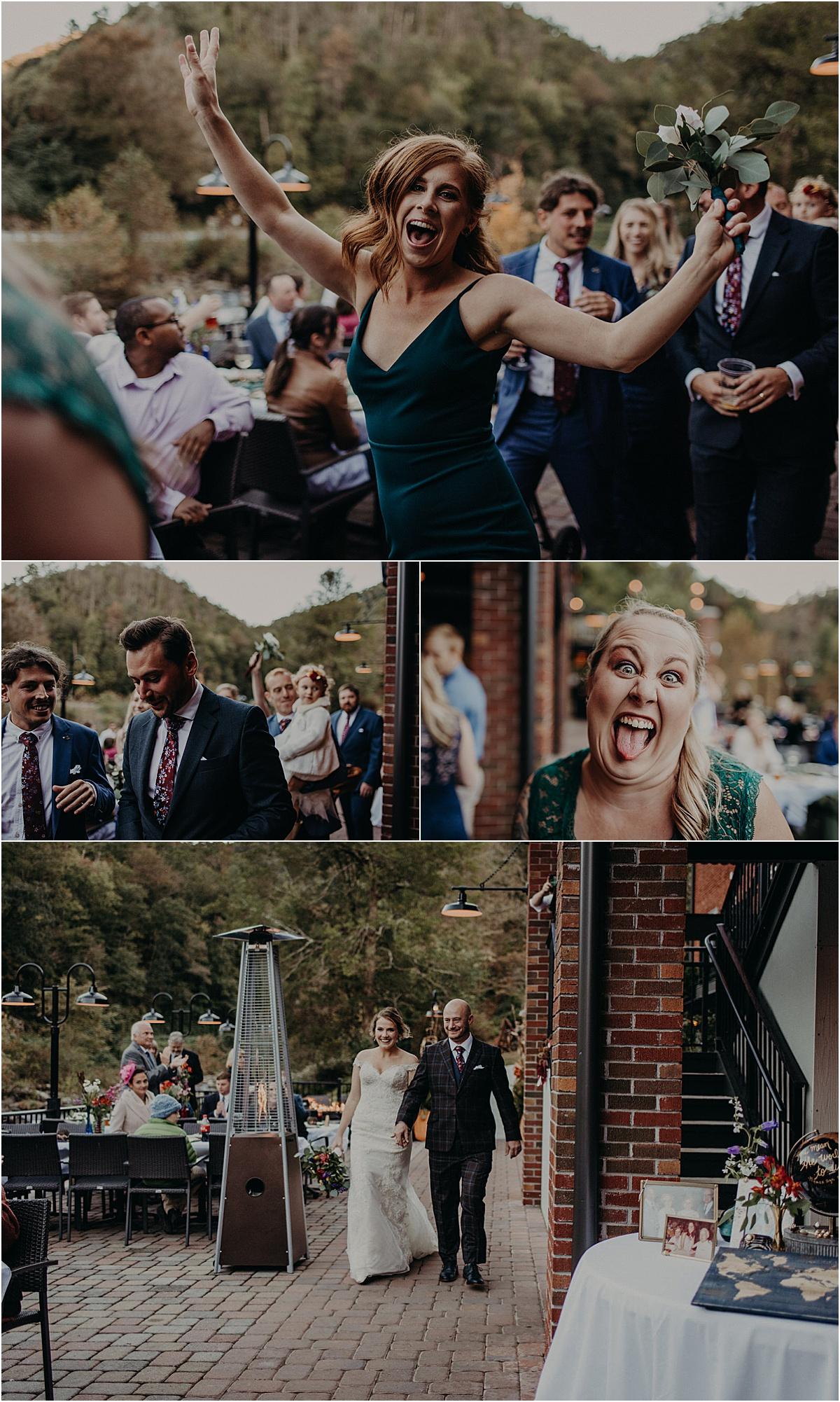 bridal party entering wedding reception with bride and groom