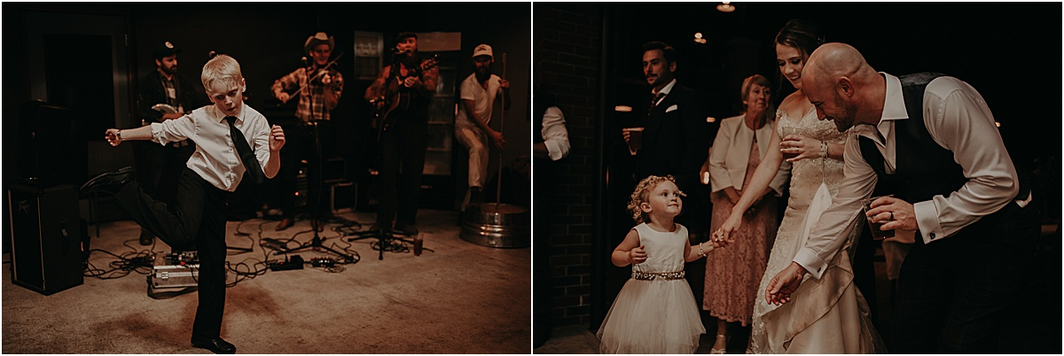 kids dancing with bride and groom