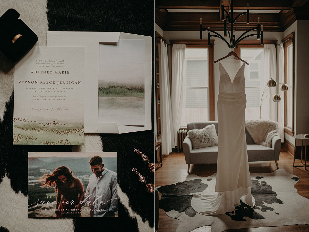 The bride's Lela Rose gown hanging in a Chattanooga AirBnb