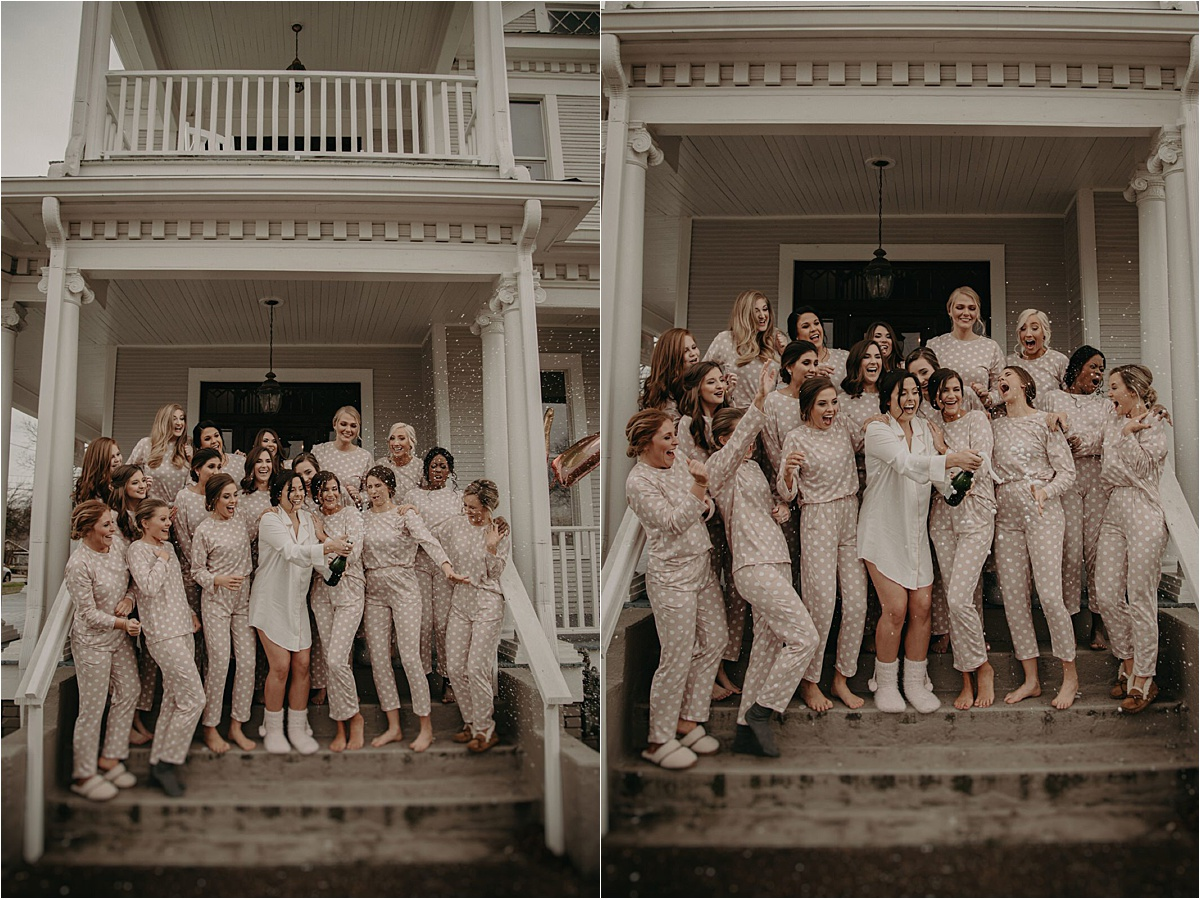 The bridal party celebrates wedding day in their matching pajama sets