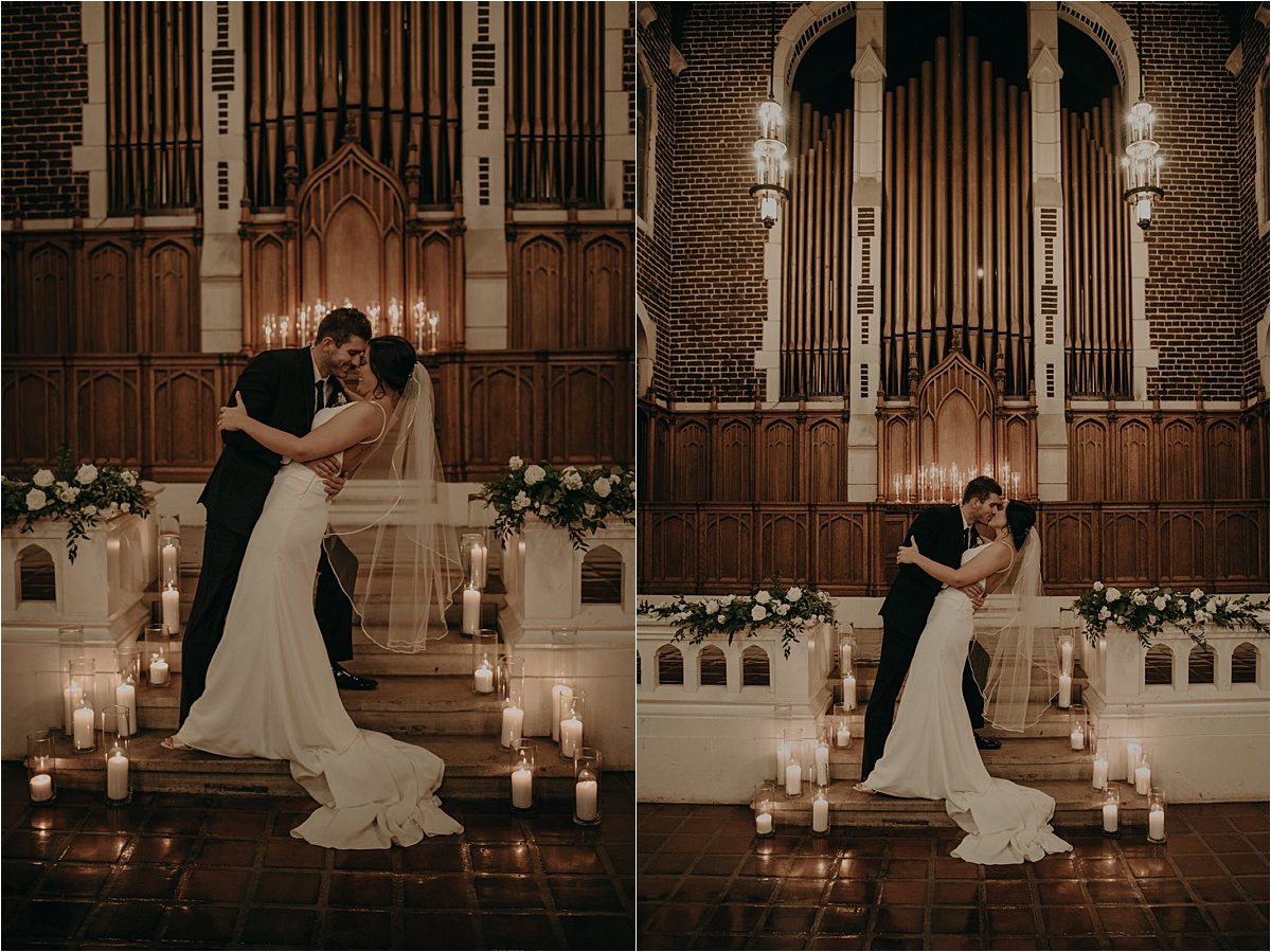 Patten Chapel's awe-inspiring archways lend to these ultra romantic portraits of the bride and groom