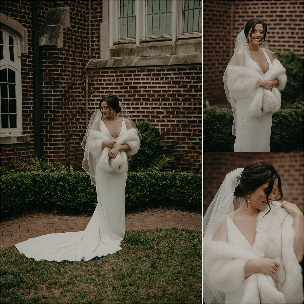 The bride wore an heirloom fur shawl to keep warm