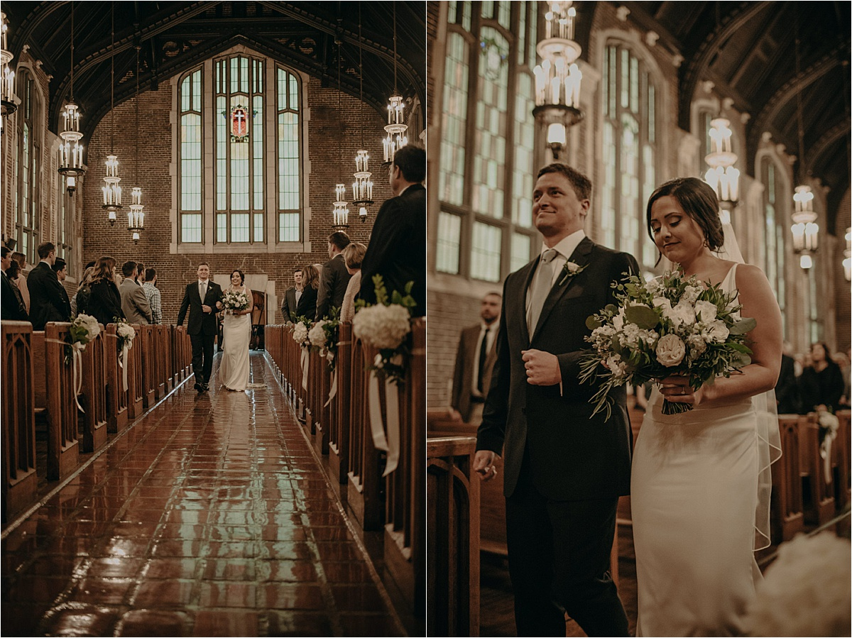 The bride and her father make their entrance in the chapel