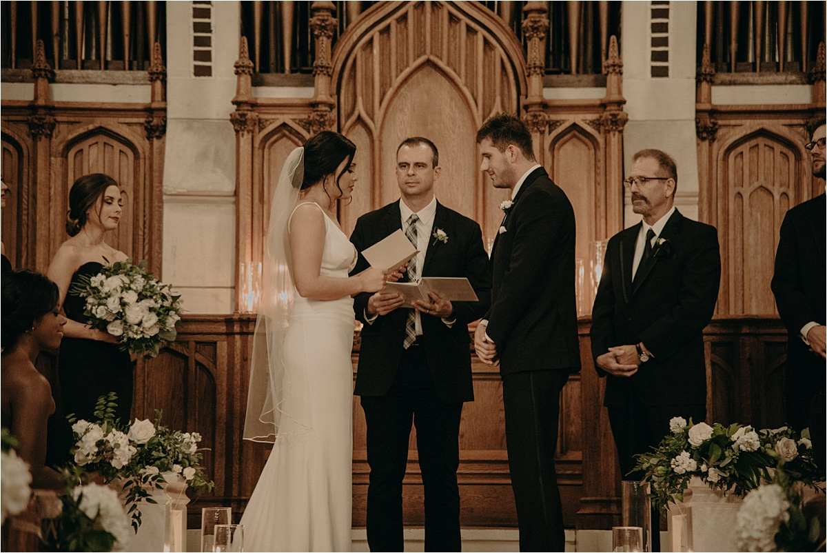 Beautiful vows were exchanged on the altar at Patten Chapel