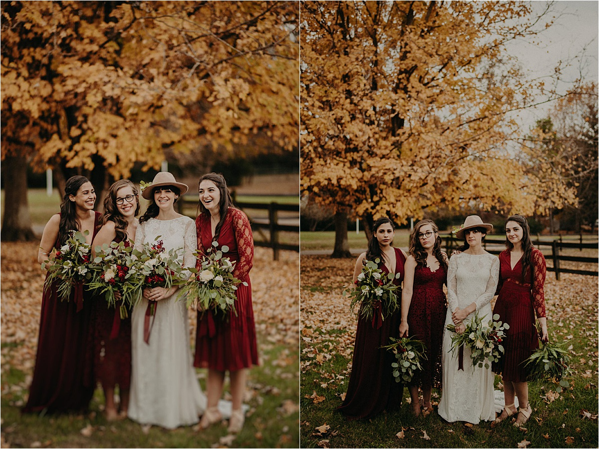 A stunning autumn palette for the bridesmaids in burgundy stands out against this late November tree in Nashville, TN