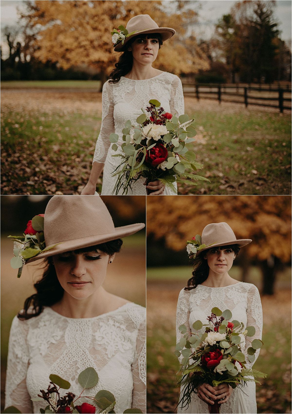 The bride wore a Grace Loves Lace gown a camel-colored hat with florals and touches of deep burgundy at this fall wedding at Barn in the Bend in Nashville, Tennessee