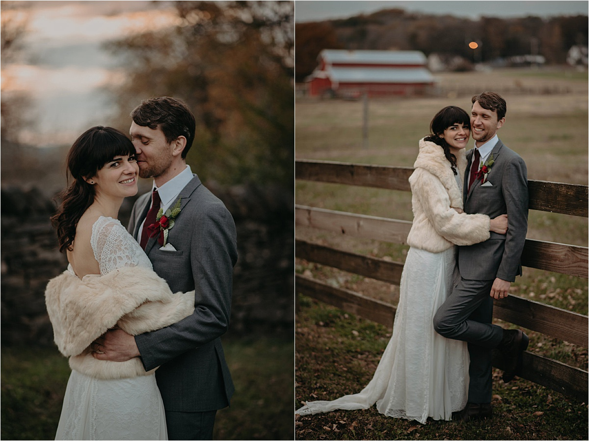 The bride wore a vintage fur jacket to keep warm at this November Nashville wedding