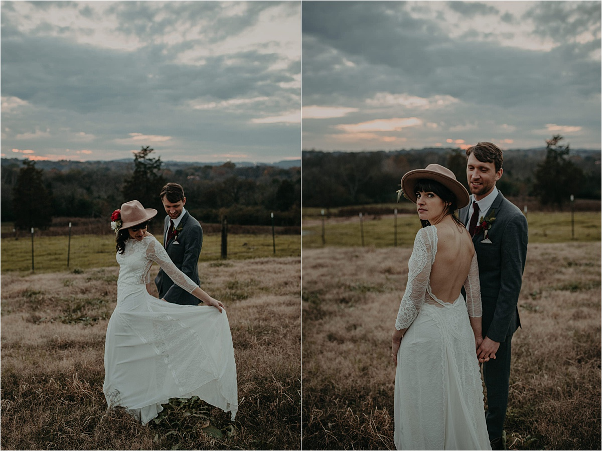 A boho, music inspired wedding with a Grace Loves Lace wedding gown, and a camel hat with florals