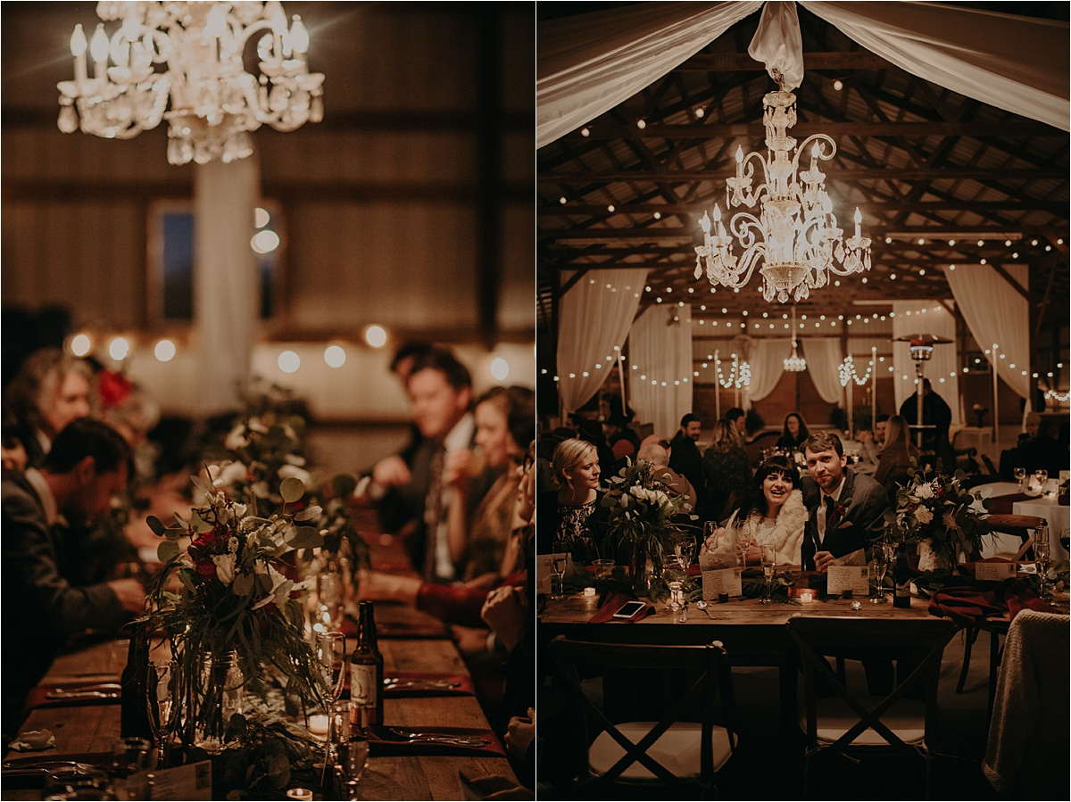 A chilly November wedding meant close quarters for this barn wedding in Nashville, Tennessee. It made for an intimate, cozy vibe.