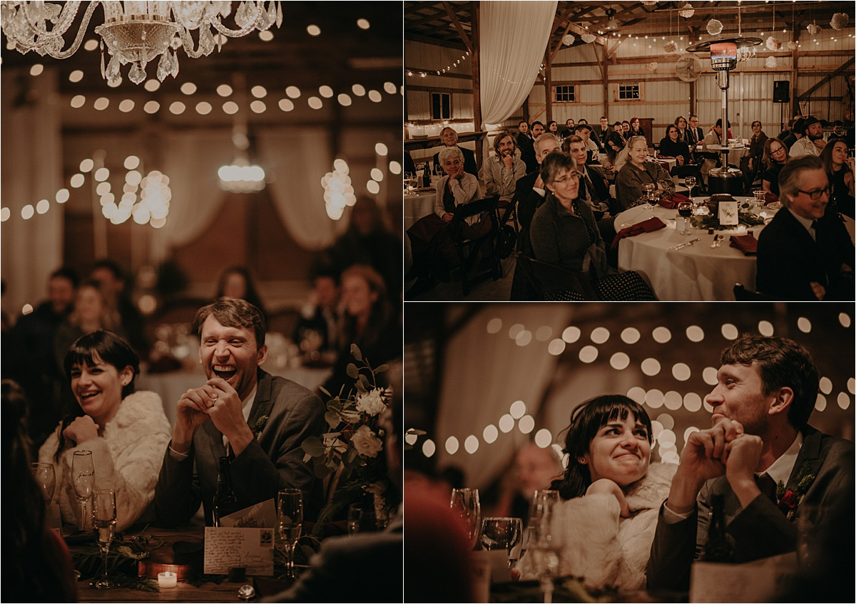 Tearful, laugh-filled toasts and speeches while the bride stayed warm in a vintage fur coat.