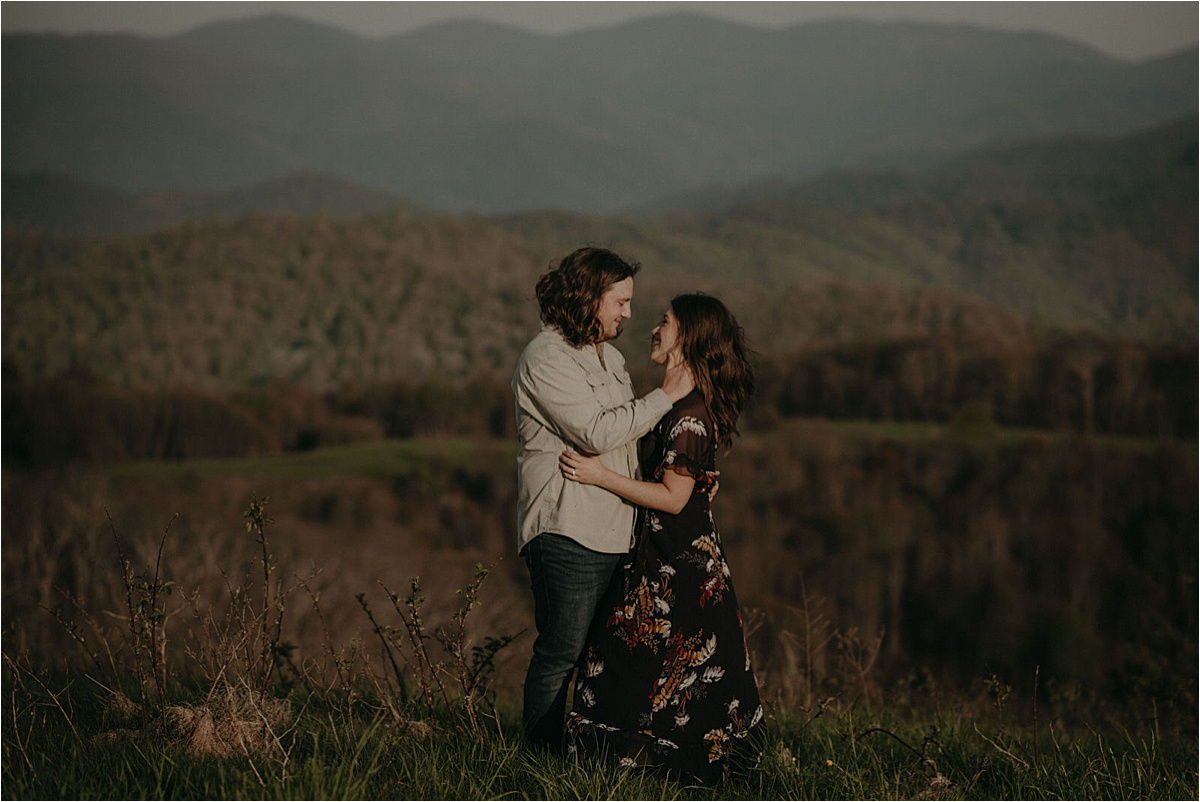 An engagement session atop Max Patch Mountain in North Carolina