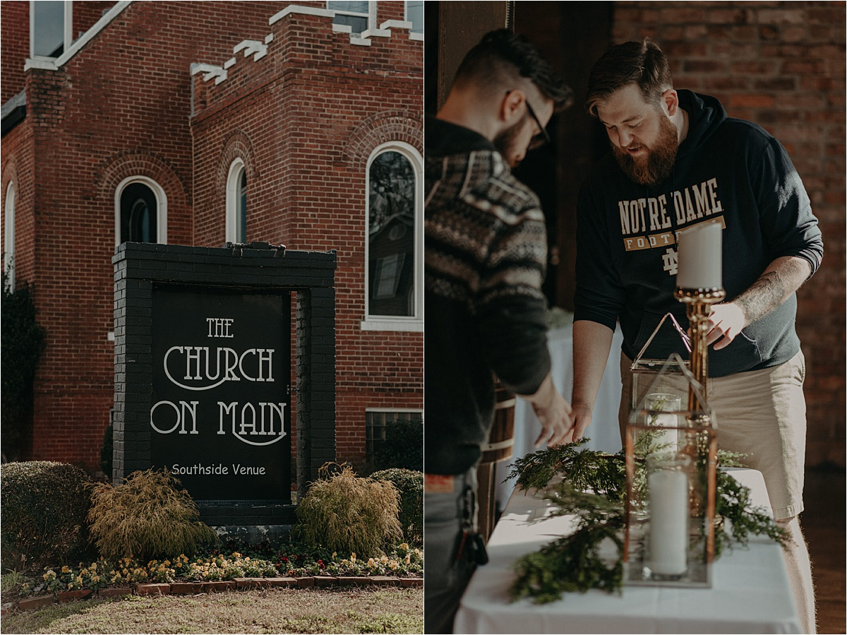 The grooms help lay out the decorations for their winter wedding at the Church on Main in Chattanooga, Tennessee