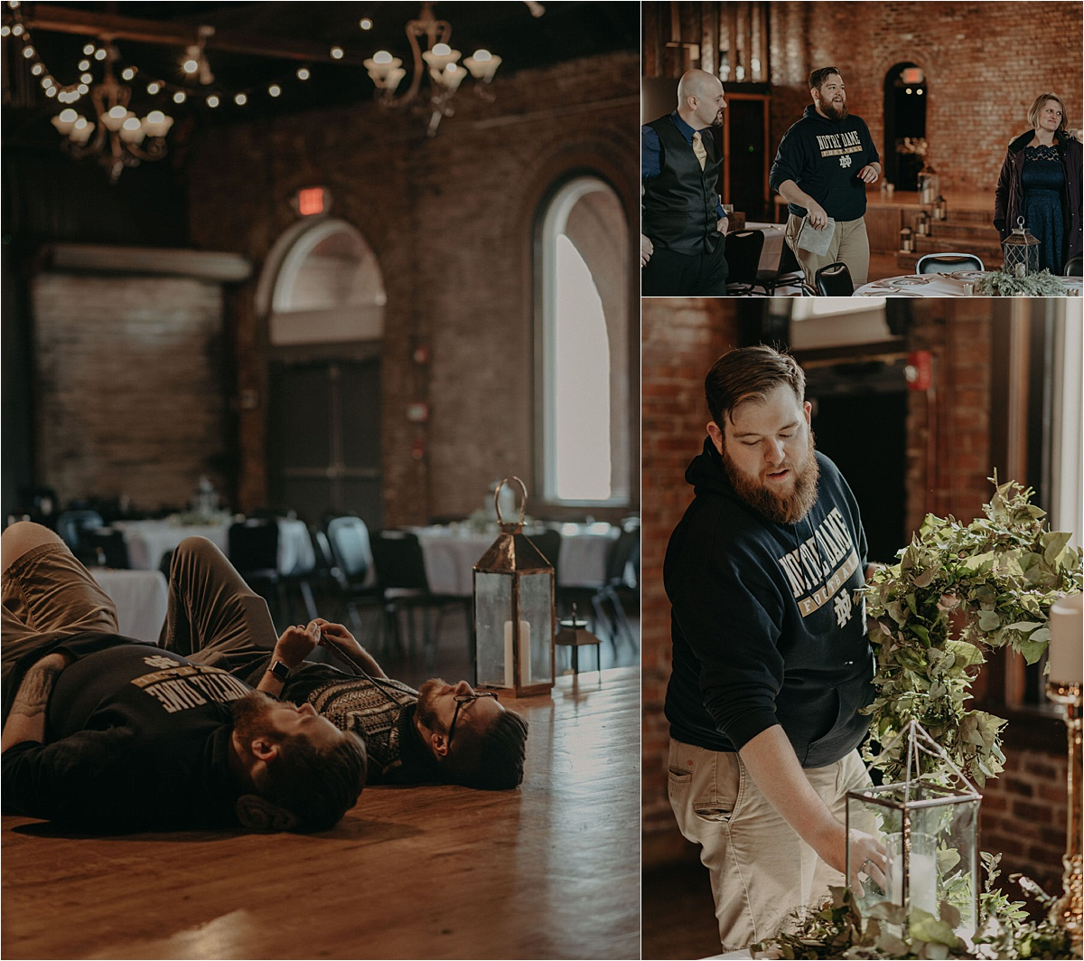 The grooms take a break and lay back on the stage at their historic wedding venue, the Church on Main.