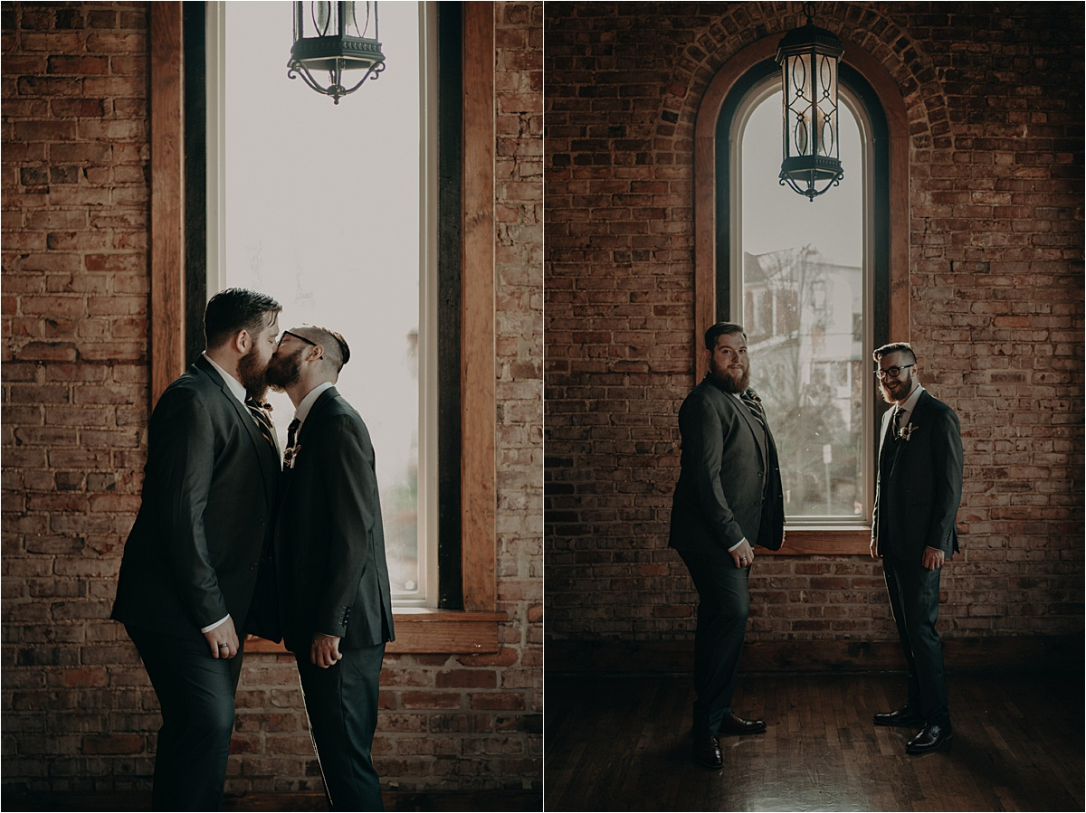 Groom and groom portraits in one of the brick laid rooms of this historic wedding venue, Church on Main, in Chattanooga, Tennessee.