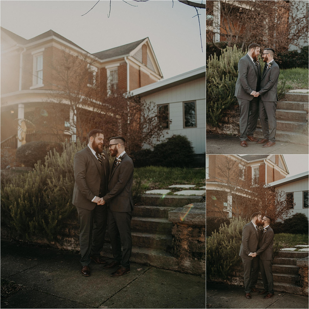 Groom and groom portraits in the southside neighborhood of Chattanooga, Tennessee