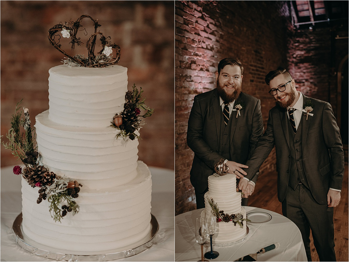 A beautiful white tiered cake with pinecones and leaf twigs as a symbol to the couple's love of being outdoors