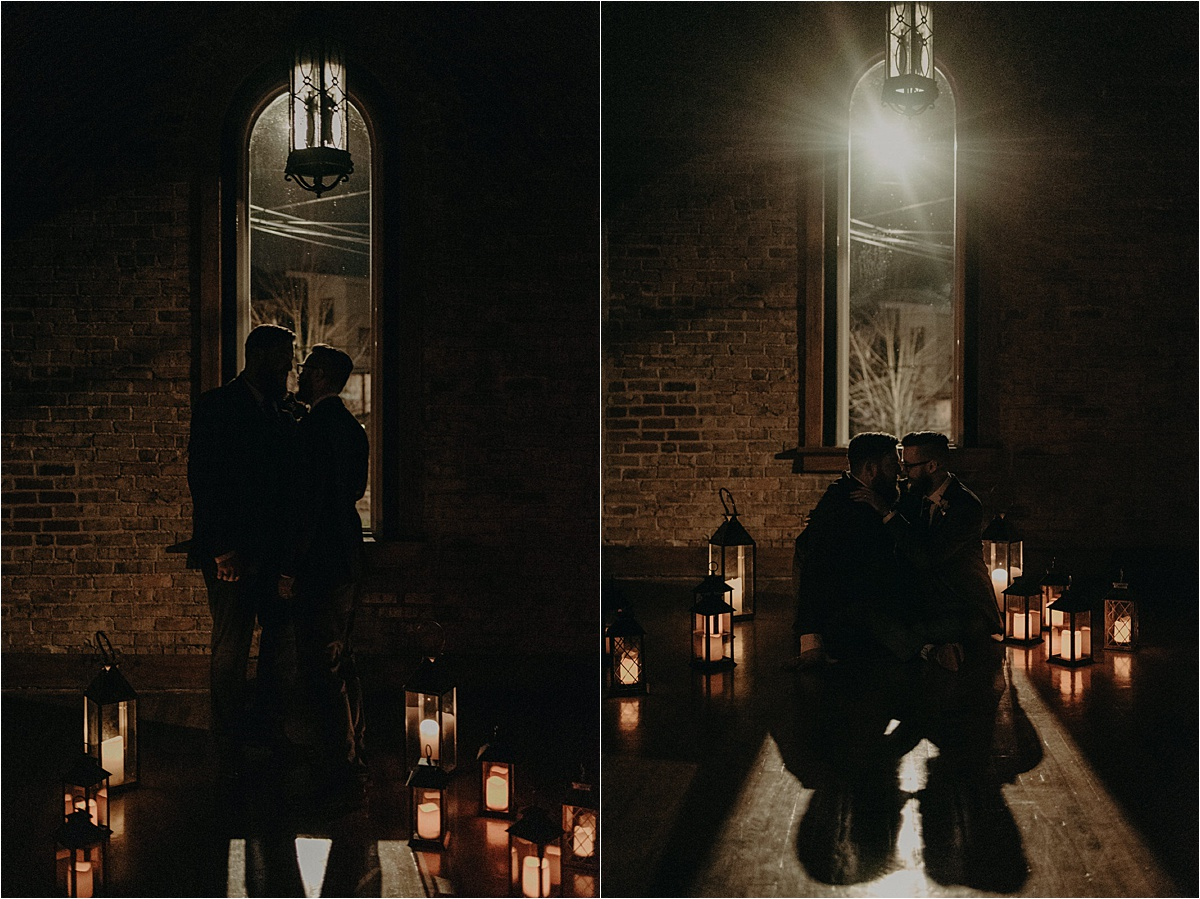 Night portraits of the groom and groom in a side room of the Church on Main lit entirely by lanterns