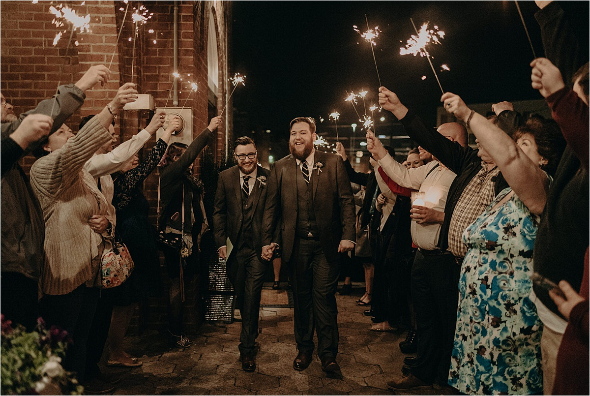 An epic sparkler exit outside of the Church on Main in Chattanooga, Tennessee for these grooms!