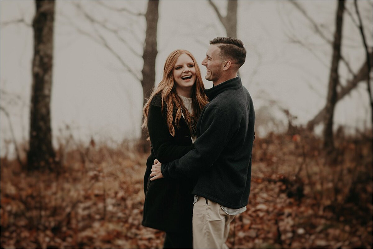 A foggy fall engagement session on Lookout Mountain in Tennessee