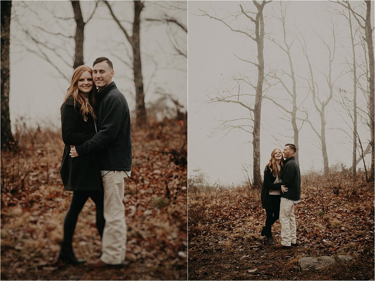An eerie foggy engagement session on a mountain