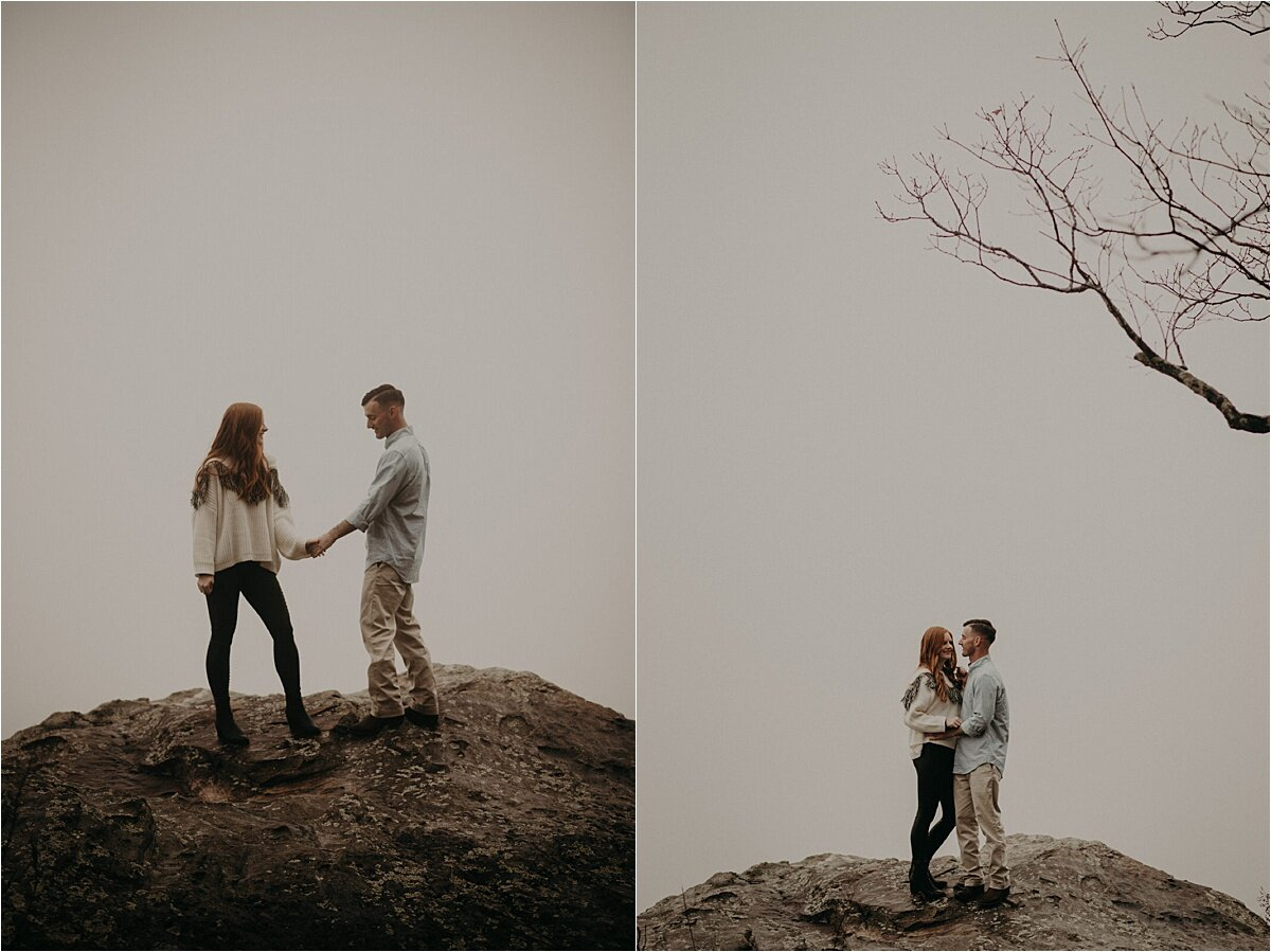 White out conditions for this foggy mountaintop engagement session in Tennessee